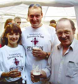 Sam and Tyrone with Huddersfield master brewer John Eastwood at last year's Star Inn Beer Festival